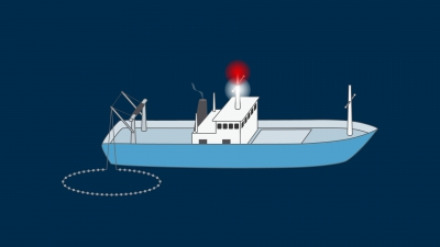 A vessel engaged in fishing, other than trawling not making way through the water - lights