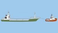 A power-driven vessel engaged in a towing operation (restricted to deviate from its course) - shapes