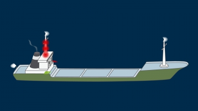 A vessel constrained by her draught over 50 m underway - lights