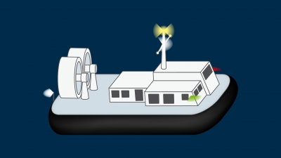 An air-cushion vessel when operating in the non-displacement mode - lights