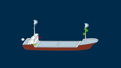 A vessel engaged in mine clearance operations underway - lights