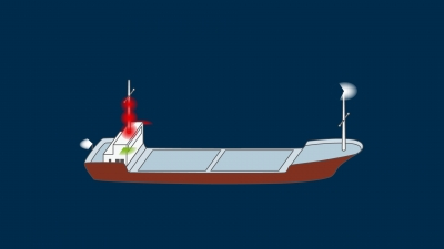 A vessel constrained by her draught under 50 m underway - lights