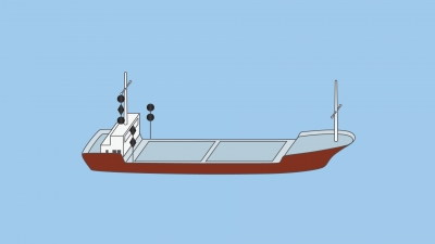 A vessel engaged in underwater operations (restricted in her ability to manoeuvre, underway, an obstruction exists on her port side) - shapes