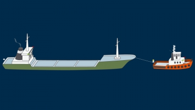 A power-driven vessel towing, length of the tow over 200 m - lights
