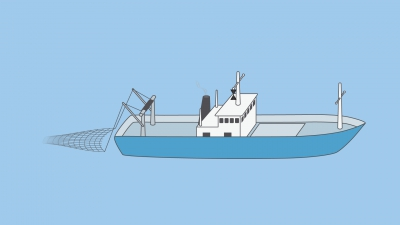 A vessel engaged in trawling - shapes