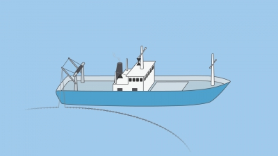 A vessel engaged in fishing, other than trawling with outlying gear extending more than 150 m - shapes