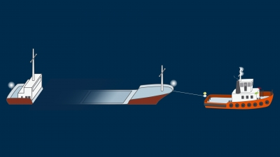 A power-driven vessel towing partly submerged vessel with breadth under 25 m and length under 100 m, length of the tow under 200 m - lights