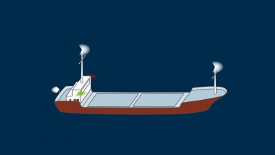 A power-driven vessel over 50 m underway - lights