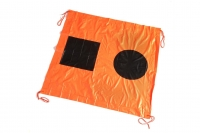 Orange coloured canvas with a black square and circle